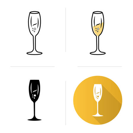 Tulip wineglass icons set. Champagne. Alcohol beverage. Party cocktail. Sweet aperitif drink. Tableware, glassware. Flat design, linear, black and color styles. Isolated vector illustrations