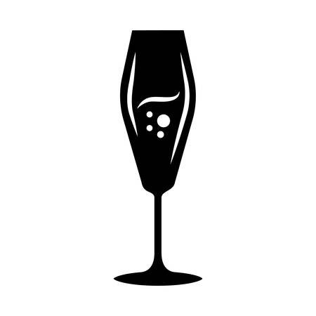 Flute wineglass glyph icon. Sparkling wine, champagne. Alcohol beverage with bubbles. Party cocktail. Sweet aperitif drink. Silhouette symbol. Negative space. Vector isolated illustration Ilustração