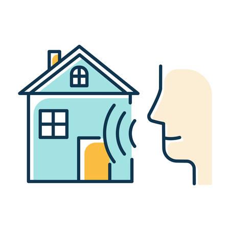 Blue smart home control color icon. Voice management idea. Distant command. Speech, soundwave. Innovative technology, automation system. Modern house, audio request. Isolated vector illustration Illusztráció