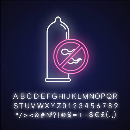 Condom neon light icon. Male latex contraceptive. Sperm block. Unplanned pregnancy prevention. Safe sex. STI protection. Glowing sign with alphabet, numbers and symbols. Vector isolated illustration