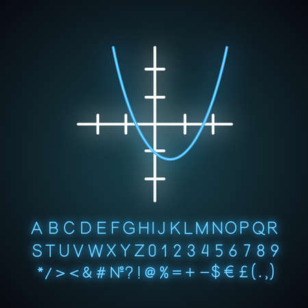 Function graph neon light icon. Curve chart with increasing section and segmented bar. Trigonometry, geometry. Glowing sign with alphabet, numbers and symbols. Vector isolated illustration Ilustracja