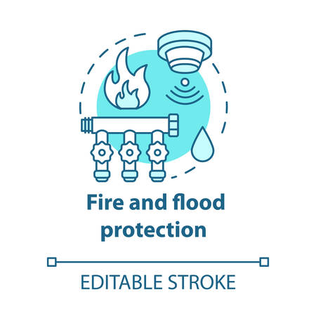 Fire and flood protection turquoise concept icon. Smart house idea thin line illustration. Innovative technology for apartment. Smoke detectors. Vector isolated outline drawing. Editable stroke Illusztráció