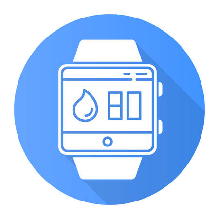 Water balance tracking smartwatch function blue flat design long shadow glyph icon. Fitness wristband. Hydration remindings and measurements. Water resistant device. Vector silhouette illustration Çizim