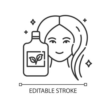 Natural shampoo bottle linear icon. Paraben free haircare product. Hygiene. Hypoallergenic. Organic cosmetics. Thin line illustration. Contour symbol. Vector isolated outline drawing. Editable stroke Ilustracja