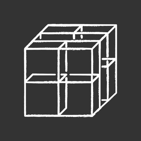 Cube chalk icon. Geometric gridded figure. Graphic abstract shape. Transparent blocks and clear boxes. Polygonal decorative element. Complex isometric form. Isolated vector chalkboard illustration