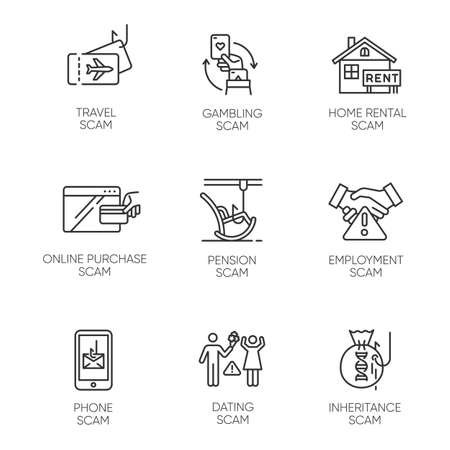 Scam types linear icons set. Travel, gambling, dating scheme. Pension, inheritance trick. Phone, home rental scamming. Thin line contour symbols. Isolated vector outline illustrations. Editable stroke