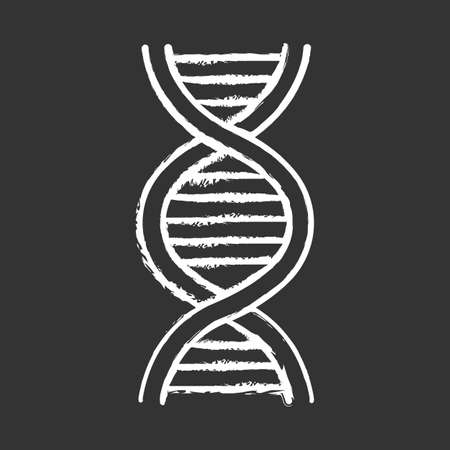 DNA helix chalk icon. Deoxyribonucleic, nucleic acid structure. Spiraling strands. Chromosome. Molecular biology. Genetic code. Genome. Genetics. Medicine. Isolated vector chalkboard illustration