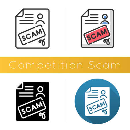 Competition scam icon. Money deposit fraud. Fake prize scamming. Upfront payment. Financial scamming. Fraudulent scheme. Flat design, linear and color styles. Isolated vector illustrations