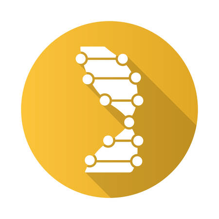DNA helix yellow flat design long shadow glyph icon. Z-DNA. Connected dots, lines. Deoxyribonucleic, nucleic acid. Chromosome. Molecular biology. Genetic code. Genetics. Vector silhouette illustration