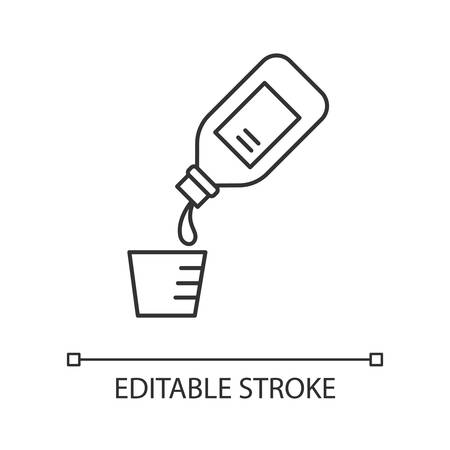 Cough syrup linear icon. Common cold aid. Medication for healthcare. Remedy drink. Antibiotic in bottle. Thin line illustration. Contour symbol. Vector isolated outline drawing. Editable stroke