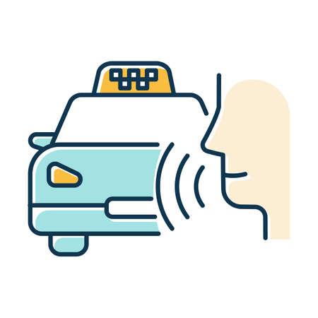 Blue taxi call color icon. Transport search voice command idea. Sound control, audio order, conversation. Smart virtual assistant. Car delivery service. Loud speak. Isolated vector illustration Illusztráció