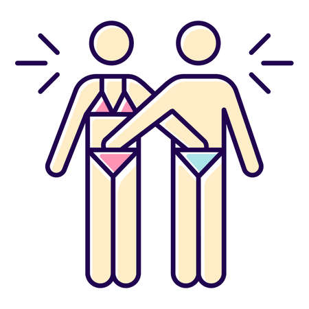 Mutual color icon. Couple acitvity. Man and woman, girlfriend and boyfriend. Erotic play with lover. Intimate relationship with partner. Safe sex. Isolated vector illustration