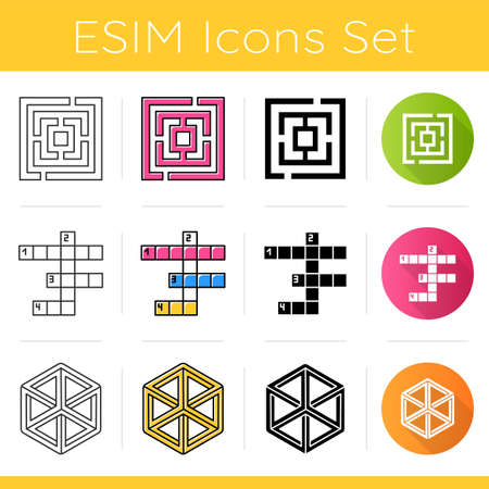Puzzles and riddles icons set. Maze, labyrinth. Crossword. Optical illusion. Logic games. Mental exercise. Brain teaser. Flat design, linear, black and color styles. Isolated vector illustrations