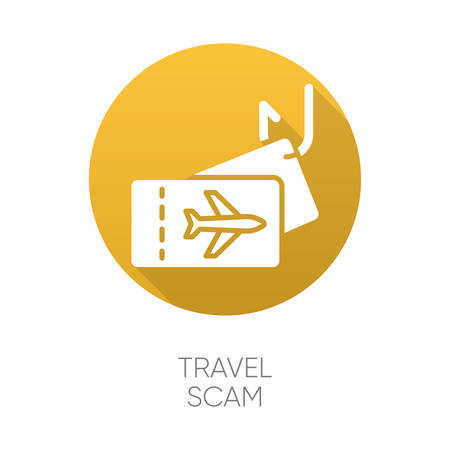 Travel scam yellow flat design long shadow glyph icon. Fake vacation ad. Unrealistic conditions. Free tickets trick. Financial fraud. Cybercrime. Fraudulent scheme. Vector silhouette illustration