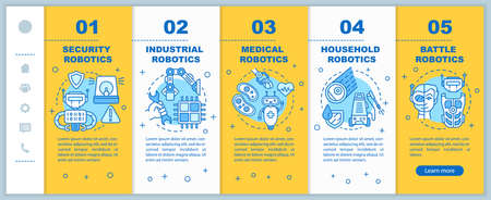 Types robotics onboarding mobile web pages vector template. Cybernetics. Responsive smartphone website interface idea with linear illustrations. Webpage walkthrough step screens. Color concept 版權商用圖片 - 134811728