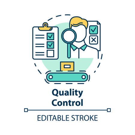 Quality control concept icon. Characteristics monitoring. Check product. Conformity inspection of production processes idea thin line illustration. Vector isolated outline drawing. Editable stroke