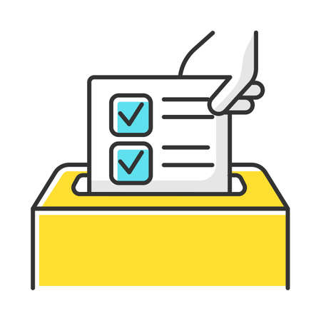 Anonymous survey color icon. Ballot box. Feedback form. Opinion polling. Social research. Evaluation. Voting. Data collection. Sociology. Isolated vector illustration Vectores