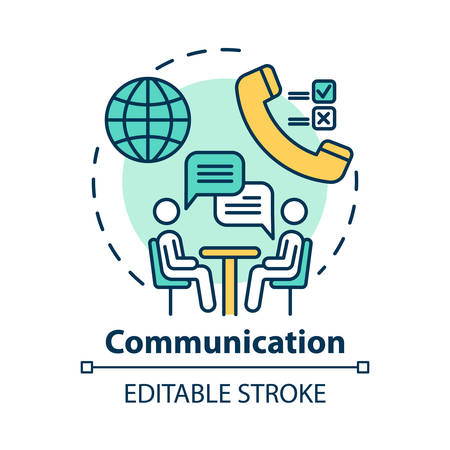 Communication concept icon. Dialogue. Professional conversation. Partnership meeting. Business negotiations idea thin line illustration. Vector isolated outline drawing. Editable stroke