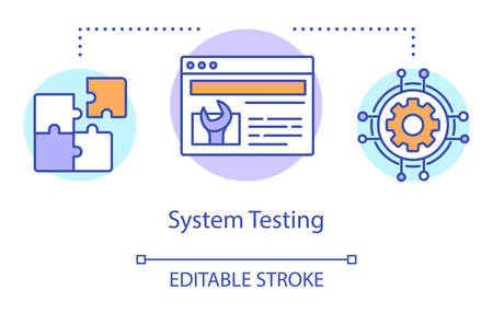 System testing concept icon. Examine computer components idea thin line illustration. Software testing process. Indicating issues and problems. Vector isolated outline drawing. Editable stroke