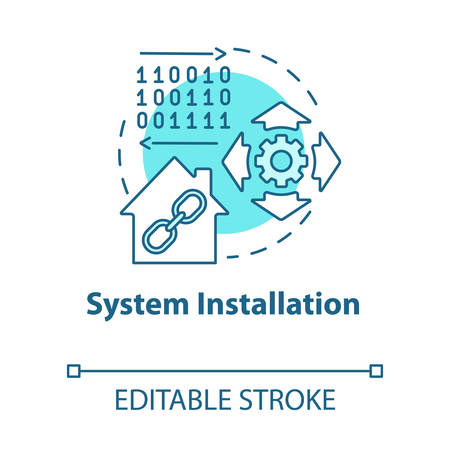 System installation turquoise concept icon. Smart house setup process idea thin line illustration. Introducing innovative technology for apartment. Vector isolated outline drawing. Editable stroke