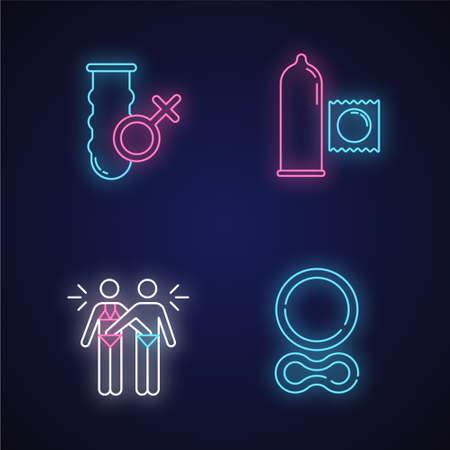 Conjunto de iconos de luz de neón segura. Condón vaginal femenino. Conservante masculino. Masturbación mutua. Anillo anticonceptivo. Juego erótico. Mujer, hombre en relación. Signos brillantes. Ilustraciones de vectores aislados
