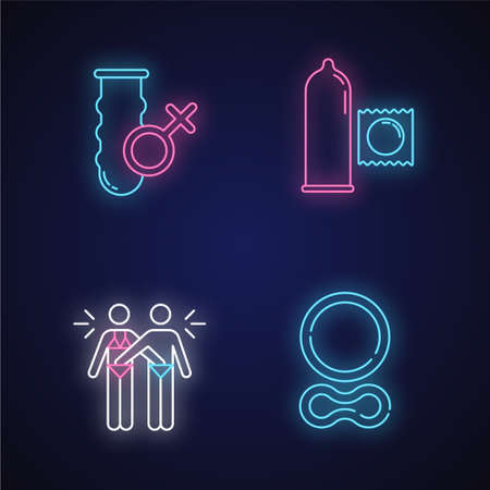 Safe sex neon light icons set. Female vaginal condom. Male preservative. Mutual masturbation. Contraceptive ring. Erotic play. Woman, man in relationship. Glowing signs. Vector isolated illustrations
