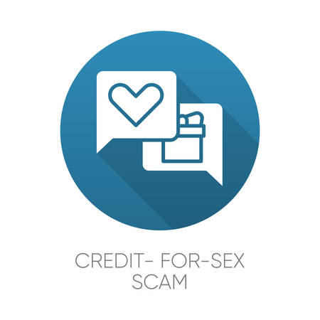 Credit-for-sex scam blue flat design long shadow glyph icon. Sexual favours. Dating, hookup fraud. Internet, web love scam. Cyber extortion. Fraudulent scheme. Vector silhouette illustration