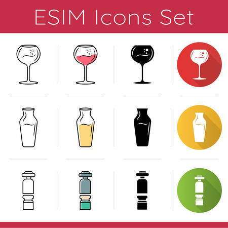 Winery tools icons set. Wine glass, decanter, wine preserver. Sommelier and barman tableware. Alcohol, cocktail. Flat design, linear, black and color styles. Isolated vector illustrations