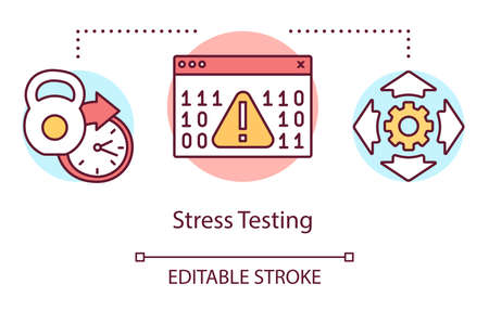 Stress testing concept icon. Examine stability idea thin line illustration. Software testing process. Indicating issues and problems. Vector isolated outline drawing. Editable stroke