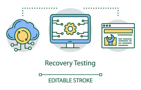 Recovery testing concept icon. Examine program performance idea thin line illustration. Software testing process. Indicating issues and problems. Vector isolated outline drawing. Editable stroke Reklamní fotografie - 134837558