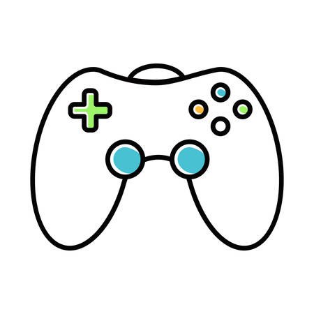 Game room white color icon. Gamepad. Video game controller. Community recreation area. Room for spending time with friends. Esports competition. Joystick. Isolated vector illustration