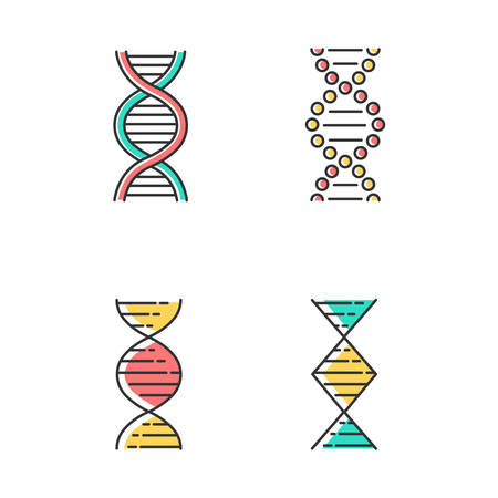 DNA spiral strands color icons set. Deoxyribonucleic, nucleic acid helix. Spiraling strands. Chromosome. Molecular biology. Genetic code. Genome. Genetics. Medicine. Isolated vector illustrations Иллюстрация
