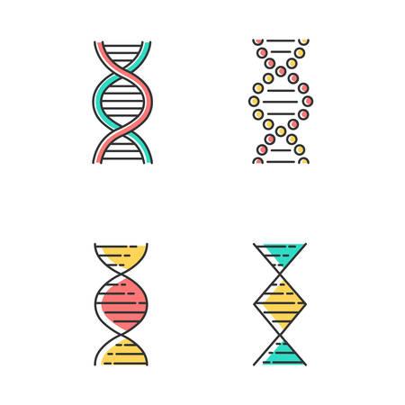 DNA spiral strands color icons set. Deoxyribonucleic, nucleic acid helix. Spiraling strands. Chromosome. Molecular biology. Genetic code. Genome. Genetics. Medicine. Isolated vector illustrations Illustration