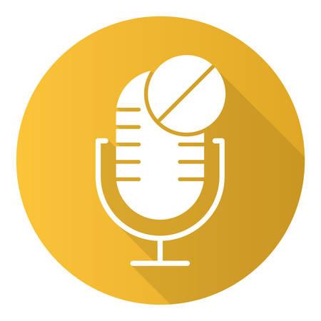 Gelbes Mikrofon nicht verfügbar flaches Design langes Schattenzeichensymbol. Idee eines technischen Fehlers des Tonrecorders. Fehler bei der Installation des Sprachlautsprechers. Aufnahmegeräte. Vektor-Silhouette-Abbildung Vektorgrafik