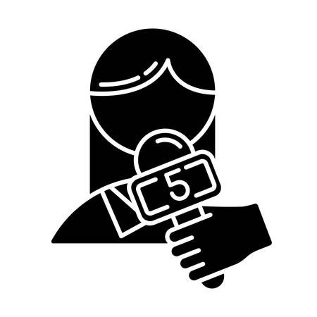 News and media glyph icon. Telecommunications and entertainment. Professional interviewer. Channel broadcasting. Filming reportage. Silhouette symbol. Negative space. Vector isolated illustration Vectores