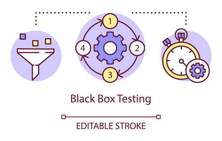 Black box testing concept icon. Examine computer functionality idea thin line illustration. Software testing process. Indicating issues and problems. Vector isolated outline drawing. Editable stroke Reklamní fotografie - 134837591