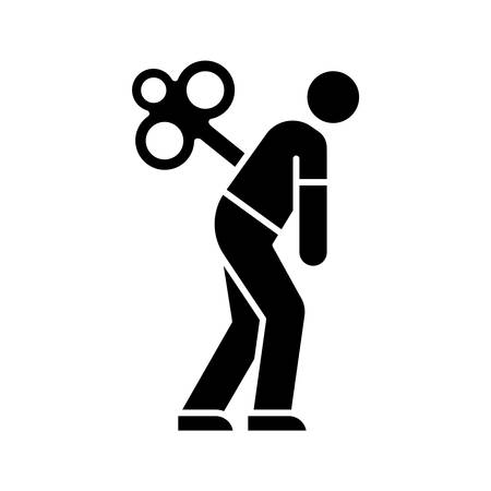 Fatigue glyph icon. Tired man. Overworked person. Common cold symptom. Chronic depression. Unhappiness, frustration. Grippe sickness. Silhouette symbol. Negative space. Vector isolated illustration