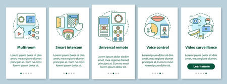 Smart home onboarding mobile app page screen with linear concepts. Automation systems for security and comfort walkthrough steps graphic instructions. UX, UI, GUI vector template with illustrations Illusztráció