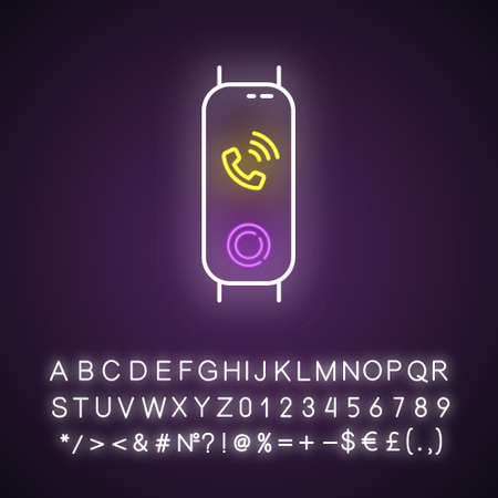 Fitness tracker with incoming call on display neon light icon. Wearable wellness device with ringing phone symbol. Glowing sign with alphabet, numbers and symbols. Vector isolated illustration