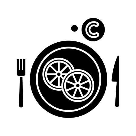 Vitamin C glyph icon. Sliced lemon on plate. Cut fruit. Eat citrus. Common cold precaution. Influenza infection aid. Healthcare. Silhouette symbol. Negative space. Vector isolated illustration Illusztráció