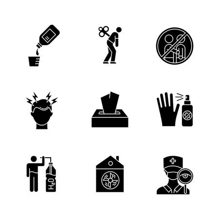 Common cold glyph icons set. Cough syrup. Fatigue. Avoid contact. Headache. Disposable wipes. Antiseptic. Drink water. Ventilation. Doctor visit. Silhouette symbols. Vector isolated illustration