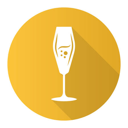 Flute wineglass yellow flat design long shadow glyph icon. Sparkling wine, champagne. Alcohol beverage with bubbles. Party cocktail. Sweet aperitif drink. Vector silhouette illustration