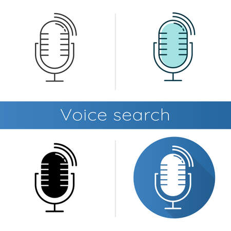 Dynamic microphone icons set. Mike recording sound idea. Portable voice recorder. Wireless musical mic, professional studio equipment. Linear, black and color styles. Isolated vector illustrations