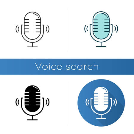 Loud microphone icons set. Stereo mic recording sound idea. Voice record process. Portable wireless speaker. Audio equipment. Linear, black and color styles. Isolated vector illustrations