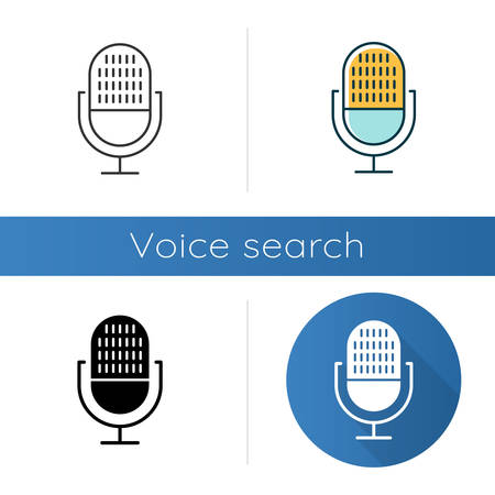 Modern voice recorder icons set. Microphone idea. Sound recording equipment. Portable mic, music mike. Speech recognition process. Linear, black and color styles. Isolated vector illustrations