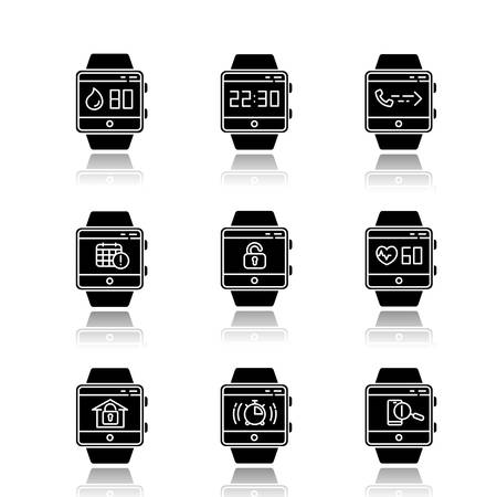 Fitness tracker functions drop shadow black glyph icons set. Smartwatch apps. Water balance monitoring, scheduling events, heart rate tracking, answering calls. Isolated vector illustrations Illustration
