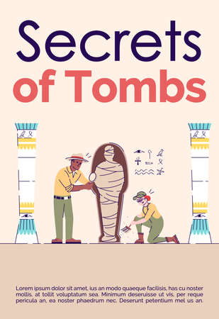 Secrets of tombs brochure template. Flyer, booklet, leaflet concept with flat illustrations. Vector page cartoon layout for magazine. Study of mummies in Egypt advertising invitation with text space
