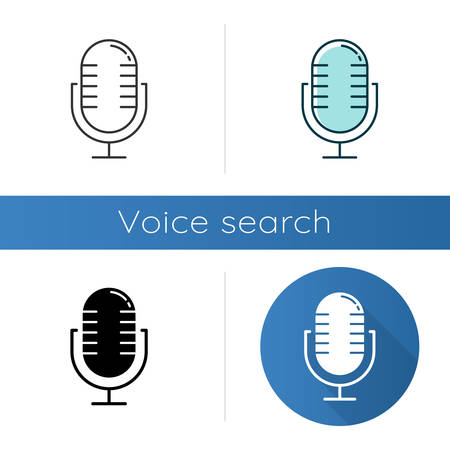 Microphone using modes icons set. Professional music mics. Musical record equipment. Portable audio mikes. Wireless recording device. Linear, black and color styles. Isolated vector illustrations Иллюстрация
