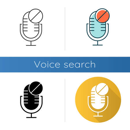 Microphone not available icons set. Sound recorder technical mistake idea. Voice speaker installation error. Recording equipment. Linear, black and color styles. Isolated vector illustrations