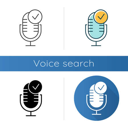 Microphone installation icons set. Sound recorder connected idea. Successful connection. Voice control, speech recognition process. Linear, black and color styles. Isolated vector illustrations
